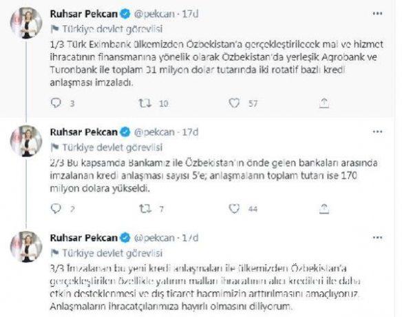 Bakan Pekcan: Türk Eximbank, 31 milyon dolar tutarında kredi anlaşması imzaladı